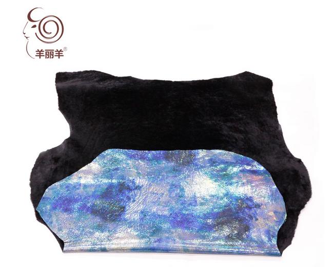 澳洲进口幻彩羊皮毛一体真皮材料面料—黑色--广州