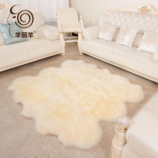 【羊丽羊】澳洲进口羊皮毛一体卧室地毯