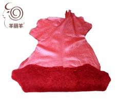 【羊丽羊】中国红覆膜印花皮毛一体