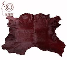 【羊丽羊】澳洲进口酒红色胎牛皮毛一体