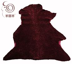 【羊丽羊】服装用酒红色水波纹反穿羊皮毛一体